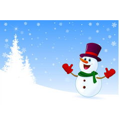cute joyful snowman welcomes vector image
