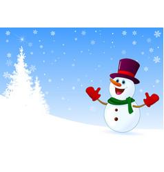 Cute joyful snowman welcomes vector