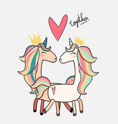 Cute male unicorn kiss female unicorn valentine vector