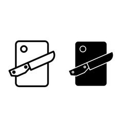Cutting board and knife line and glyph icon vector