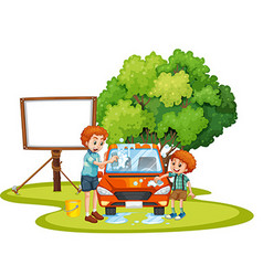 Dad and son washing car on lawn vector