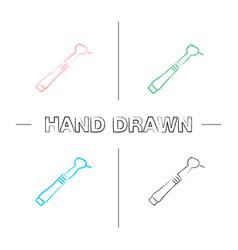 Dental drill hand drawn icons set vector