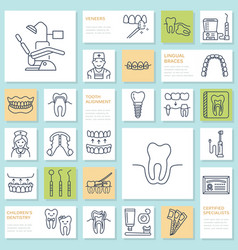 dentist orthodontics line icons dental care vector image