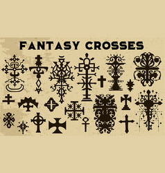 Design set with fantasy crosses 7 vector