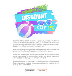 Discount sale 15 percent off poster with ball vector