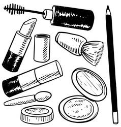 doodle cosmetics makeup vector image