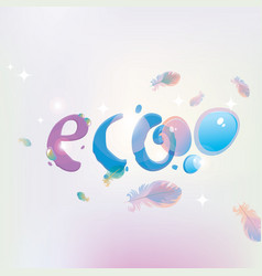 eco banner with dew drops and feathers vector image