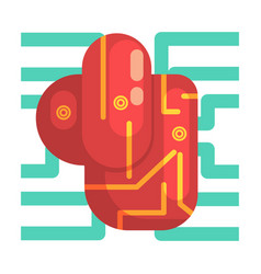Electronic android heart internal organ part of vector