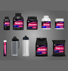 fitness sport bottles packages vector image