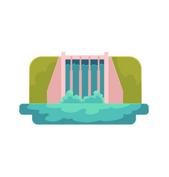 Flat hydroelectric dam power station vector