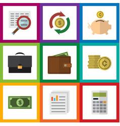 Flat icon finance set of greenback interchange vector