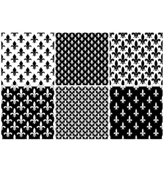 fleur de lis seamless patterns set in black vector image