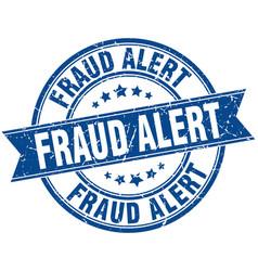 Fraud alert round grunge ribbon stamp vector