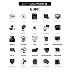 Gdpr glyph icon set vector