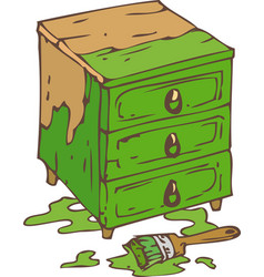 Green chest of drawers vector