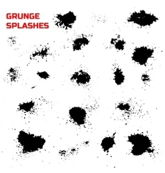 Grunge splashes set vector image