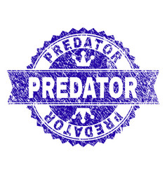 Grunge textured predator stamp seal with ribbon vector