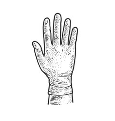 hand in medical glove sketch vector image