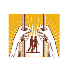 Hand Looking Couple Prison Prisoner Retro vector