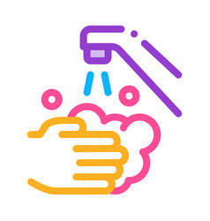 hands wash water faucet icon outline vector image