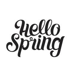 Handwritten Phrase Hello spring Brush Pen vector