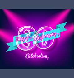 Happy 80th anniversary glass bulb numbers set vector
