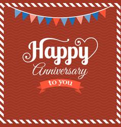 happy anniversary flat design vector image