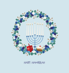 Happy hanukkah greeting card invitation with vector