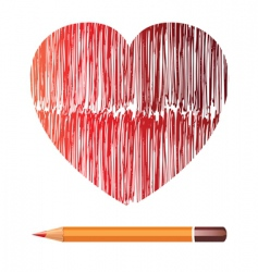 heart and pencil image vector image