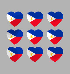 Hearts with the flag of philippines i love vector