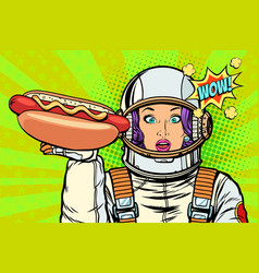 hungry woman astronaut with hot dog sausage vector image