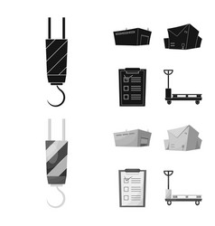Isolated object of goods and cargo symbol set of vector