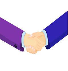 isometric businessmen shake hands vector image