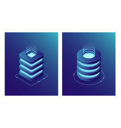 isometric database and data center server room vector image