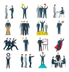 Leadership Flat Color Icons vector