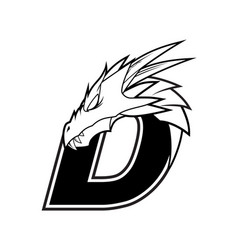 Letter d dragon head logo vector