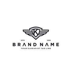 Letter k shield wing logo design concept vector