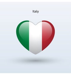 Love italy symbol heart flag icon vector