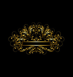 Luxury gold frame with beadscurls and gold cross vector