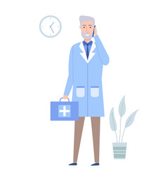 medical clinic worker holding first aid kit vector image