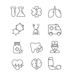 medical icons surgery anatomy doctors disease vector image
