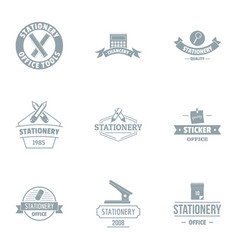 Office tool logo set simple style vector