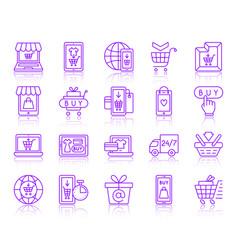 online shop simple color line icons set vector image