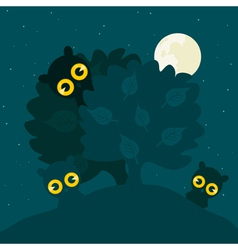 Owls hide behind a tree at night a vector