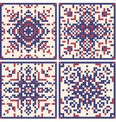 pattern cross stitch set scandinavian patterns vector image