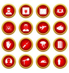 Phobia symbols icon red circle set vector