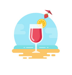 pink cocktail with lemon slice and strawberry on vector image