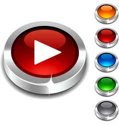 Play 3d button vector