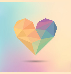 polygon colorful heart icon on colorful vector image