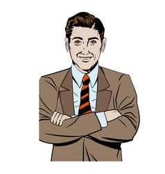 pop art man business crossed arms vector image